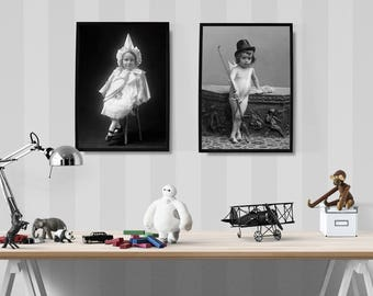 Nursery Wall Decor, Child's Room Prints, Baby's Room Decor, Vintage Portraits of Children, Gift For Her, Wall Decor, Art Prints,
