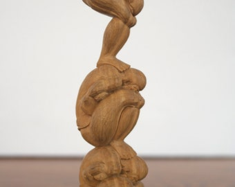 "Small Bali ""3 Yogi"" Wooden Carving in Sandalwood - Wood Carving - Human Statue Sculpture Figure - Balinese Three Yogis"