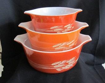 SALE Vintage Pyrex Casserole Dishes, Set of 3, Nesting bowls, Autumn Harvest Pattern, # 473,474,475