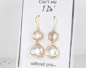 Long Crystal Gold Earrings, Gold Clear Earrings, April Birthstone Gold Earrings, Bridesmaid Jewelry, Crystal Wedding Jewelry