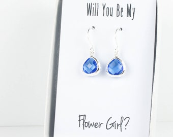 Tiny Sapphire Silver Earrings, Sapphire Blue Earrings, Bridesmaid Earrings, Sapphire Wedding Jewelry, Blue Wedding Accessories