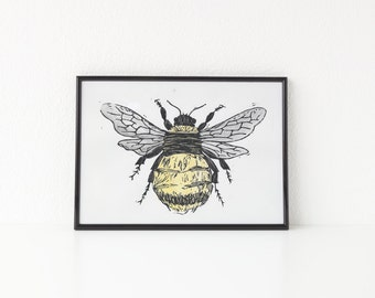 Watercolored Honey Bee, Lino Cut Print, Nursery art, Honey Bee Art, A4 Art print