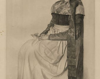 """ALFRED COSSMANN (Austrian, 1870-1951), """"Lady with Carnation"""", 1905, drypoint, pencil signed."""