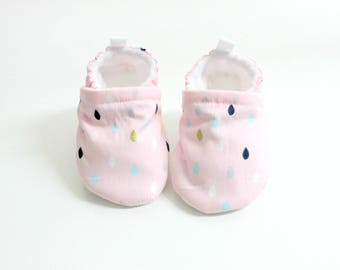 Gold pink raindrop baby shoes, baby shoes girl, soft sole, baby booties, toddler shoes, baby girl shoes, raindrop, polka dot shoes
