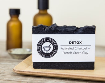 Detox Soap, Acne, Charcoal and Clay Soap, Handmade / Natural, Face & Body Soap, Organic Coconut Oil, Skin Blemish Clearing, Gift Man Woman