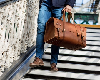 Leather Duffel Bag, Men's Cabin Luggage, Travel Bag, Weekend Bag, Carry on Baggage, Vegetable Tanned, Full Grain Leather