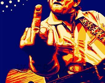 Johnny Cash, Johnny Cash Poster, Johnny Cash Art, Johnny Cash Print, Johnny Cash Wall Art, Man in Black, 12x18 - 24x36 (JS1033)