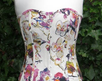 Summer Meadow Corset,Linen Overbust Boned, Front Busks and Ribbon Lacing at the Back.