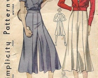 """Vintage 1930's Sewing Pattern Culottes Jacket Tennis Sports Bust 32"""" Ultra RARE"""