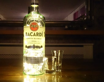 Upcycled Bacardi Bottle Lamp. Perfect Mood Lighting Gift For Women. Ideal Boyfriend Gift For Men & Man Caves. Cool Upcycled Lighting
