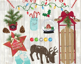 Farmhouse Christmas Vector Graphics Clipart Collection