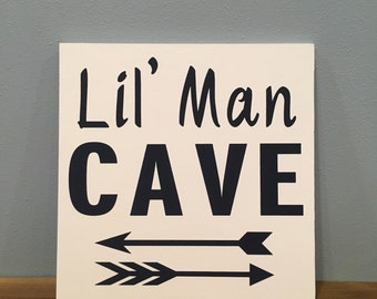 Lil' Man Cave Nursery Sign; Wall Art; Baby's Room; Boys room