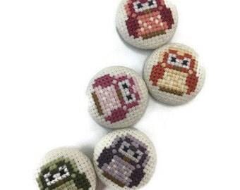 Cross-stitich magnet Owl (OWL cross stitch magnet)
