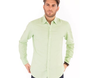 Mens Mint Green Linen Mix Long Sleeve Slim Fit Shirt