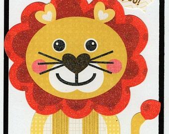 Lion Love Valentine Paper Piecing Premade Scrapbook Card