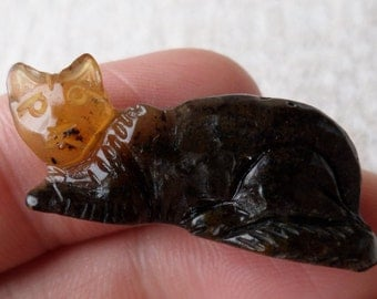 2,68gr. CAT Authentic Black Miniature Natural Real Hand Carved Baltic Amber Amulet