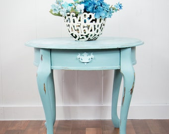 Round, Light Provence Blue Victorian-style End Table with Painted Lace Surface