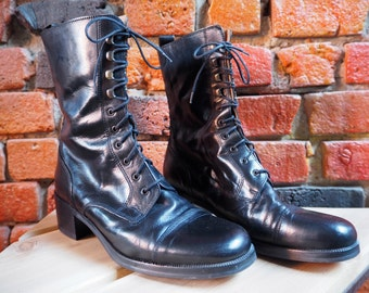 Women's 90s Black Leather Lace-Up Worker Grunge Ankle Boots Made In Italy Size 39 8 Like New
