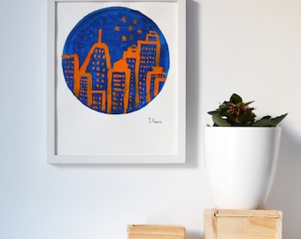 Painting in acrylic, Original. 1 of 1. Skyline.