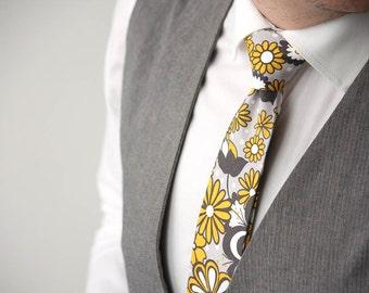 Yellow and grey floral mens Tie Men's skinny tie Wedding Ties Necktie for Men