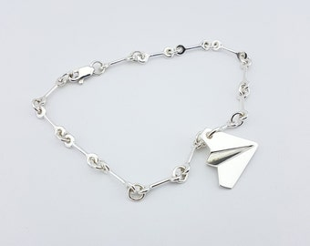 Paper Airplane Silver Charm Bracelet