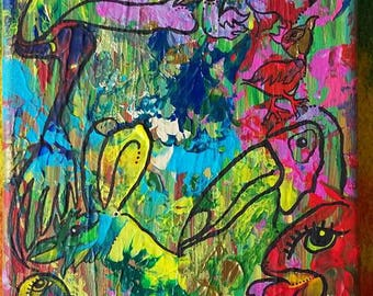 Doodle Birds, Original, Acrylic Painting on 5 x 7 inch canvas, Unique, Wall Art