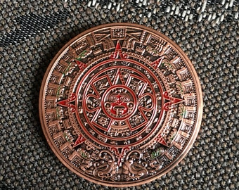 Red brass Aztec Mayan Calendar