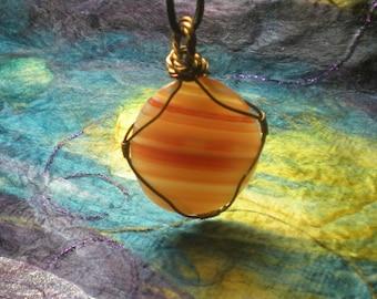 Brazilian Agate Wire-Wrapped Pendant Necklace