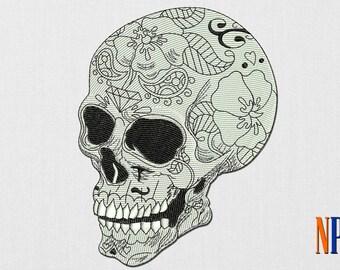 Calavera Sugar Skull patch machine embroidery design. Day of the dead embroidery. Sugar Skull Embroidery. Dia de los muertos Embroidery file