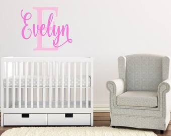 Personalized Name Wall Decal, Girl Bedroom Wall Decal, Nursery Wall Decal