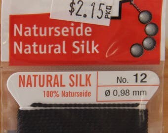 Black Size 12 Griffin Natural Silk Bead Cord - STR 190