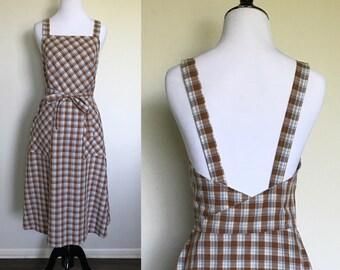 Wrap Me Up Dress   1970s Vintage Lanz Original Brown + Blue Plaid Low Back Jumper Pinafore Midi Dress   Size S/M