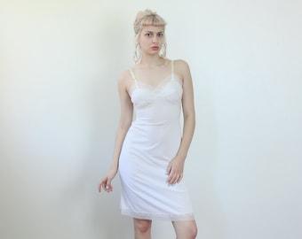 Vintage 70s Slip // White Lingerie Mini Slip Dress Sheer Lace - Small