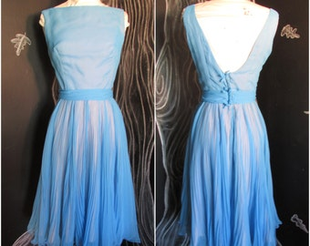 Vintage 60s Miss Elliette Party Dress. Size US 2-4, S. Blue Sheer Pleated Chiffon. Low Bow Back. Metal Zip. 36 Bust.25 Waist.Madmen Madness!
