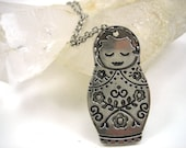 Silver Nesting Doll Necklace, Matryoshka Doll Necklace, Russian Doll, Birthday Gift, Mother's Day Gift, Teen Gift, Teen Girl Gift