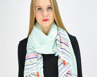 Nature Aquamarine Scarf / Spring Summer Scarf / Autumn Scarf / Womens Scarves / Gift for Her / Fashion Accessories / Handmade