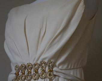 Wedding dress with jeweled waist by Emma Domb