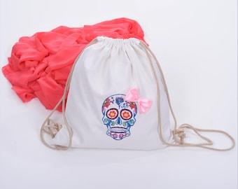 Cool girl backpack, Small rucksack backpack, White drawstring backpack, Woman canvas backpack, Mexican Sugar skull backpack