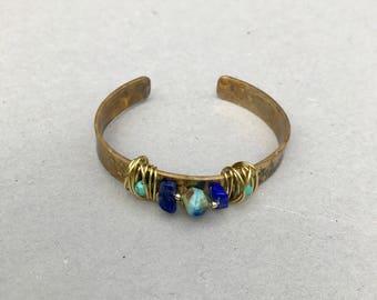 hand forged brass cuff bracelet, rustic jewelry, Lapis Lazuli, turquoise, good vibes jewelry, design jewelry,