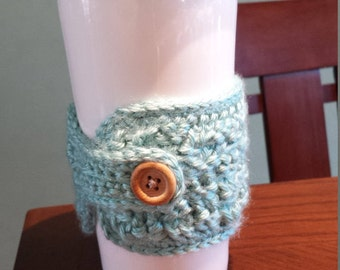 Cup Cozy - Crocheted Light Teal
