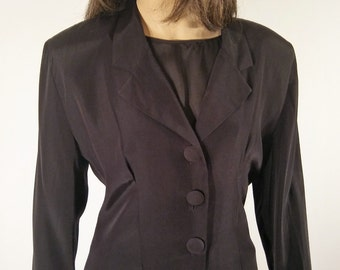 80's Women's Black Jacket Blazer Top Shirt Blouse With Fringe Trim by HEARTS Size 9/10