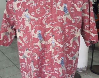 152- Reyn Spooner Aloha Hawaiian shirt Large Dietrich Varez Red 60/40 Fishermen Waves Fishing button front excellent condition