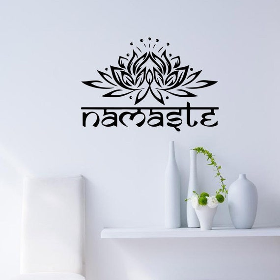 Vinyl Wall Decal - Mandala Nameste Indian Bedroom Wall Decal Art Stickers Mural Home Vinyl Family wall stickers home decor