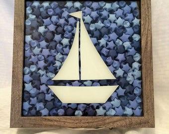 Sailboat Shadow Box, Sailboat Wall Art, Shadow Box Art, Sailboat Decor, Sailboat Art, Origami Art, Origami Shadow Box, Sailboat Home Decor