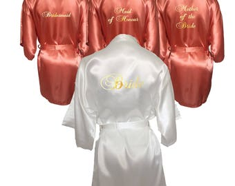 Bridesmaid Robes Set of 6, Bridesmaid Robe, White and Coral Set of 6 Bridal Robes, Mother of the Bride, Maid of Honour, Bridal Party Robe