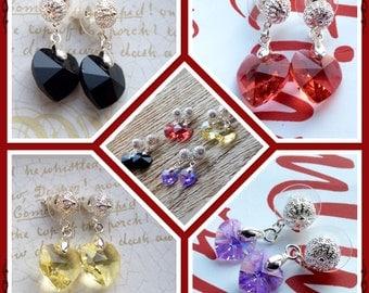 Swarovski Heart Earrings - Crystal Heart Earrings - Valentine's Earrings - Heart Earrings - Heart Jewelry - Swarovski Earring - Drop Earring