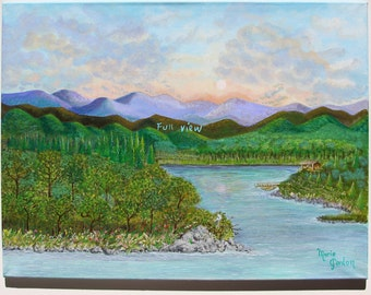 Mountains and lake painting inspired by North Carolina locations.
