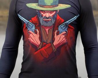 Westworld spandex long sleeve Rash Guard,  BJJ, MMA shirt good for surfing