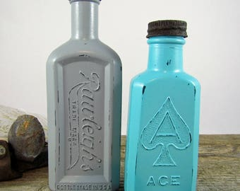 Vintage Altered Painted Bottle Pair - Gray and Turquoise Bottles with Lids