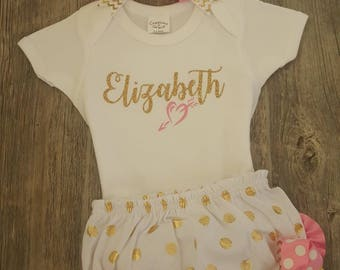 Personalized Baby Girl Outfit Pink and Gold Newborn Onesie Bloomers and Headband Set Baby Shower Gift Custom Design Coming Home Outfit